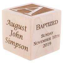 "Personalized Baby Baptism/Dedication/Christening Wood Block, Choose from 3 Sizes, Baptism Gift for Boy, Girl, Baby Dedication Gifts, Unique Baptism Gifts, Yazidism, Sikhism (2"")"