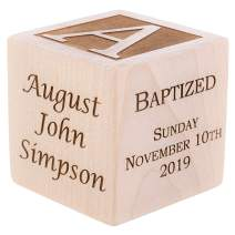 "Personalized Baby Baptism/Dedication/Christening Wood Block, Choose from 3 Sizes, Baptism Gift for Boy, Girl, Baby Dedication Gifts, Unique Baptism Gifts, Yazidism, Sikhism (2.5"")"
