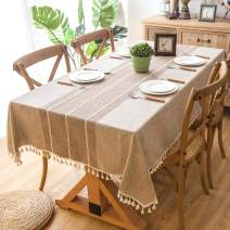 Melaluxe Stitching Tassel Tablecloth Heavy Weight Cotton Linen Fabric Dust-Proof Table Cover (Square, 55 x 55 Inch, Khaki)