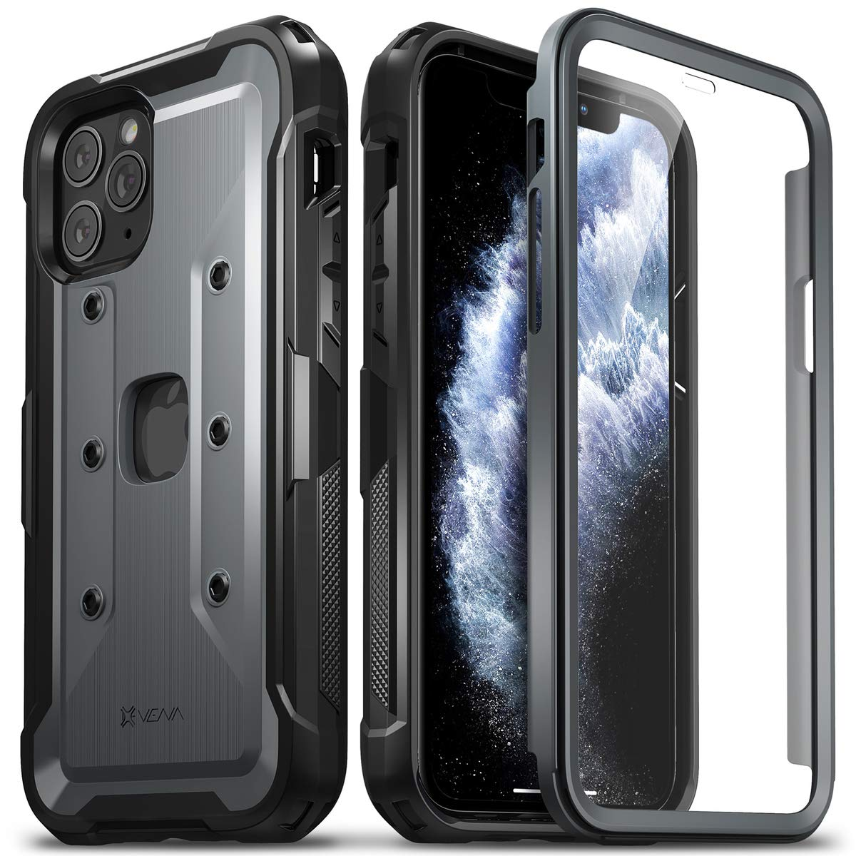 Vena iPhone 11 Pro Full Body Case, vArmor Pro, Rugged Heavy Duty Case with Built-in Screen Protector, Designed for iPhone 11 Pro (5.8 inches) - Space Gray