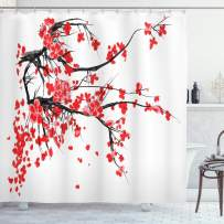 """Ambesonne Floral Shower Curtain, Japanese Cherry Blossom Sakura Blooms Branch Spring Inspirations Print, Cloth Fabric Bathroom Decor Set with Hooks, 75"""" Long, Vermilion White"""