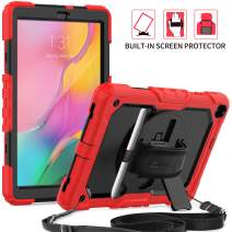 SEYMAC Tab A 10.1 2019 Case (SM-T510/T515/T517), Rugged Protection Tablet Case with 360 Rotate Hand Strap [Screen Protector] Stand/Shoulder Strap/Pen Holder for Samsung Tab A 10.1 2019 (Black/Red)