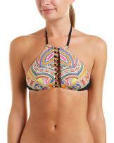Trina Turk Women's High Neck Halter Hipster Bikini Swimsuit Top