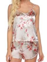 Ekouaer Womens Pajama Set Satin Sleepwear Print Cami Nightwear V-Neck Button Camisole Shorts PJ