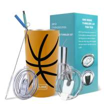 Yoelike Basketball Tumbler 20oz Stainless Steel Double Wall Vacuum Insulated Cup with Straws, Splash Proof Lids, Straw Clean Brush, Tips for Fan Coaches Mom Men Sports Travel, Keep Drinks Cold and Hot