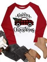 Merry Christmas Plaid Truck Tree Shirt Top Womens Raglan Sleeve Splicing Baseball T Shirt Blouse