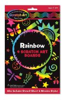 Melissa & Doug Scratch Art Activity Kit: Rainbow - 4 Boards, Stencil Sheet, Wooden Stylus