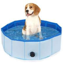 WANTRYAPET Foldable Dog Pet Bath Pool Collapsible Wading Pool Pits Ball Pool, Plastic Portable Bathing Swimming Tub Kiddie Pool for Dogs Cats and Kids Indoor & Outdoor Use, Blue