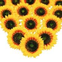 Mocoosy 16Pcs Large Artificial Sunflower Heads - 5.5 inch Yellow Silk Sunflowers Bulk Fake Sun Flowers Arrangements Wedding Birthday Party Artificial Flower Crafts Accessories DIY Decorations