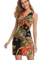 Women's Sleeveless Dress Sexy V Neck Chain Print Twist Knot Ruched Summer Mini Dresses