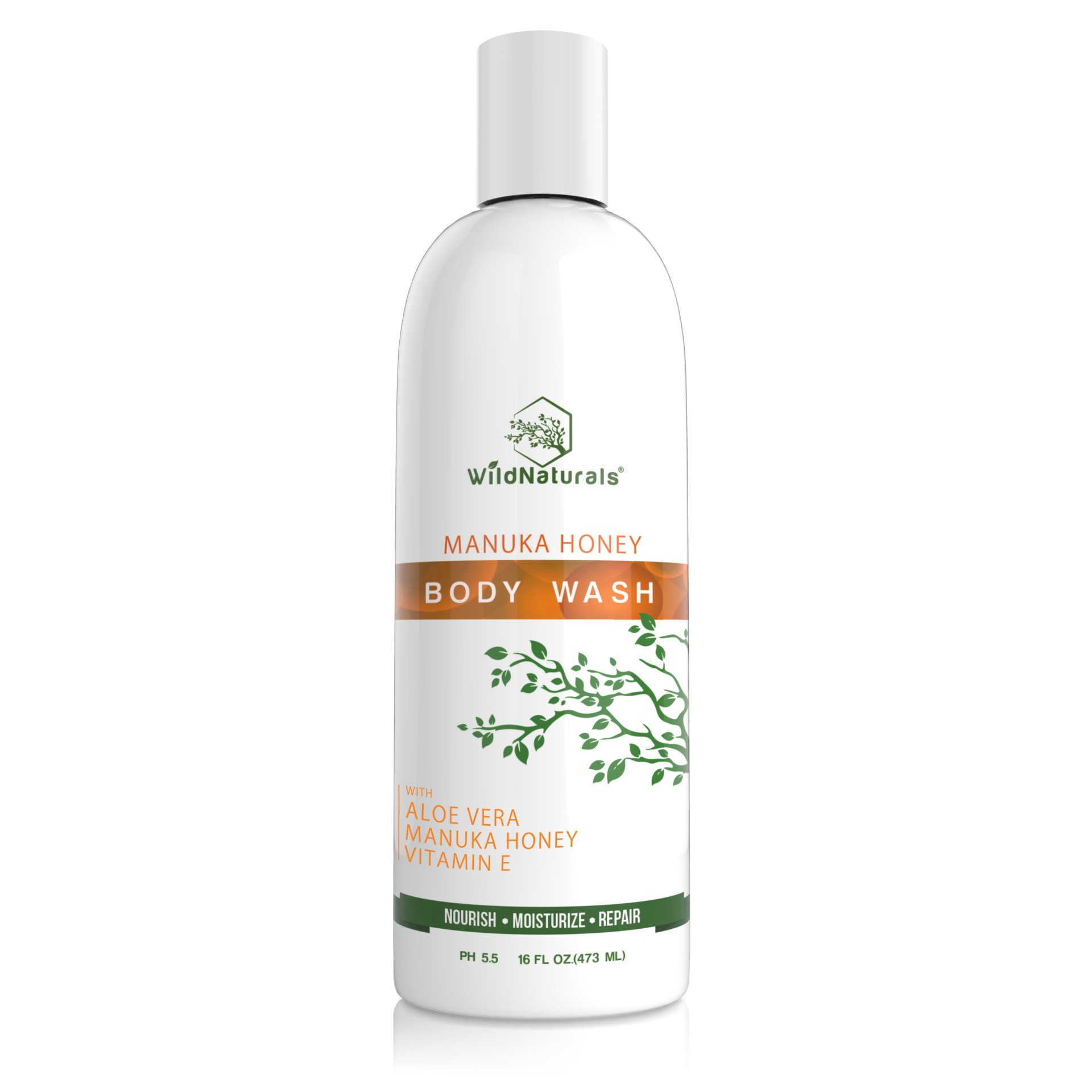 Natural Sulfate Free Body Wash : With Manuka Honey + Aloe Vera (First Ingredient), Bath and Shower Gel, Unscented, Organic, Plant-Based, pH Balanced and Moisturizing for Sensitive Skin, 16 Ounce