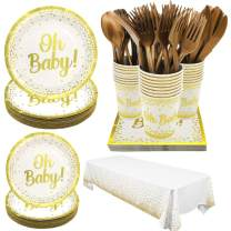 Pandecor Oh Baby Party Supplies for Baby Shower - Serves 24 Guests - 170 Pieces Disposable Tableware,White and Gold Party Decorations for Baby boys and Girls