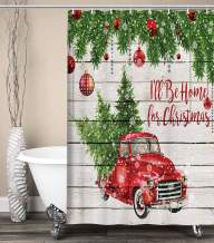 Merry Christmas Shower Curtains, Colorful Christmas Balls with Pine Fir Tree, Polyester Fabric Red Retro Truck Car Snowflake Xmas Tree on Rustic Wood Shower Curtain, Bathroom Accessory Sets, (48X70in)