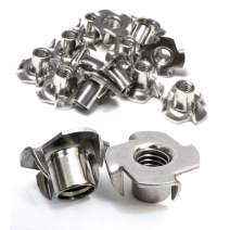 "Stainless T-Nuts, 1/4""-20 Inch, (25 Pack), Threaded Insert, Choose Size/Quantity, by Bolt Dropper, Pronged Tee Nut. (1/4""-20 x 7/16"")"