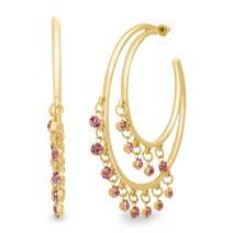 CATHERINE MALANDRINO Pink Beaded Double Layered Yellow Gold-Tone Open Hoop Earrings for Women