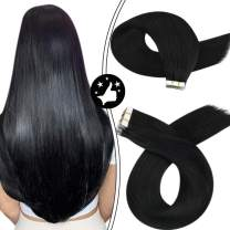 Tape in Hair Extensions Moresoo Tape Hair Extensions 24Inch Black Hair Extensions Tape in Human Hair Extensions Natural Black Remy Human Hair 50g 20pcs Seamless Hair Extensions