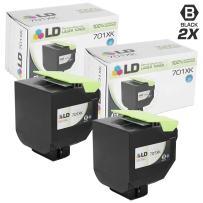 LD Remanufactured Lexmark 701XK / 70C1XK0 Set of 2 Extra HY Black Laser Toner Cartridges for use in Lexmark CS Series