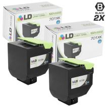 LD Remanufactured Lexmark 701XK / 70C1XK0 Set of 2 Extra HY Black Laser Toner Cartridges for use in Lexmark CS Series