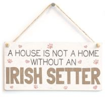 """Meijiafei A House is Not A Home Without an Irish Setter - Cute Dog PVC Sign/Plaque 10""""x5"""""""