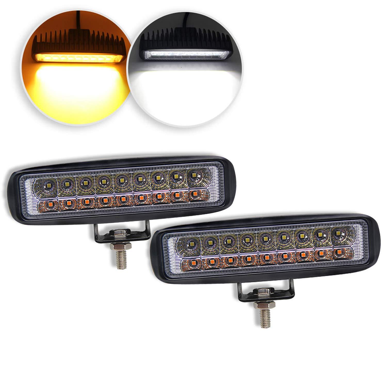 LED Light Bar 6 inch Dual Color Led Pods Off-Road Amber Light Bar 3500K 6500K Flood Driving Fog Lights Driving Lamps Yellow White Led Work Light Bar for SUV ATV Truck Garden Lighting (921S-2pcs)