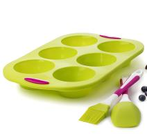 Maxi Nature Kitchenware Large 6 Cup Jumbo Muffins Pan Molds 14 INCH Cupcake with Spatula and Brush + Free Muffin Ebook - Extra Thick and Solid Silicone