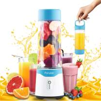 Foruisin Portable Personal Size Blender USB Rechargeable Juicer Cup Fast Mixing Fruit Shakes and Smoothies with Charging Head and Six Blades 500ML 4000mAh BPA-Free (Blue)