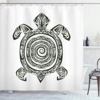 """Ambesonne Turtle Shower Curtain, Maori Tattoo Style of Sea Animal Tribal Spiral Form Tropical, Cloth Fabric Bathroom Decor Set with Hooks, 70"""" Long, Black and White"""