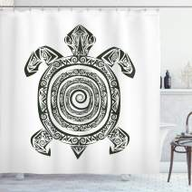 "Ambesonne Turtle Shower Curtain, Maori Tattoo Style of Sea Animal Tribal Spiral Form Tropical, Cloth Fabric Bathroom Decor Set with Hooks, 70"" Long, Black and White"