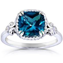 Kobelli Cushion-Cut London Blue Topaz and Diamond Engagement Ring 2 1/3 Carat (ctw) in Silver with 14k Plated