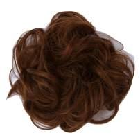 PrettyWit Hair Bun Extensions Wavy Curly Messy Chignons Piece Wig Hairpiece Scrunchy Scrunchie Updo Ribbon Ponytail-Medium Brown & Light Auburn M4/30