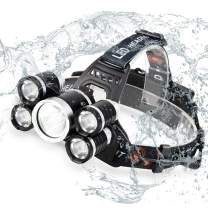 Acsin Zoomable LED Headlamp Flashlight with USB Charger, Super Bright T6 LED 4 Modes Waterproof Head 90º Swivel Ability Focusing Ring Headlight Outdoor Hiking Camping, 2x18650 Battery Included