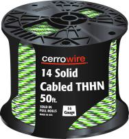 CERRO 112-141253B 50-Feet 14 Gauge Solid Cabled THHN Black, White and Green Wire, Foot