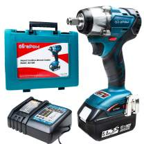 """Girapow 18V 1/2"""" MAX Cordless Impact Wrench Kit, 5.0Ah Li-ion Battery, 3A Fast Charger, 258 ft-lbs Torque 4-Speed 2700 RPM Brushless Impact Gun"""