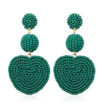 Statement Heart Drop Earrings for Women Handmade Bohemian Beaded Earring for Party Daily Meeting Club with Gift Box