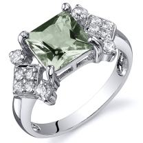 Peora Green Amethyst Ring in Sterling Silver, Vintage Style Design, Princess Cut 1.50 Carats total, Comfort Fit, Sizes 5 to 9
