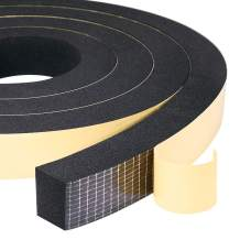 """High Density Adhesive Foam Tape 2 Rolls 1"""" W X 3/4"""", Widely Used as Weatherstrip, Gasket Seal, Anti-Vibration, Anti-Collision, Shockproof, Furniture Protective, 13 Ft Length (2 X 6.5 Ft Each)"""