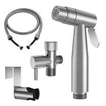 WiPPhs Handheld Bidet Sprayer for Toilet, Stainless Steel Bidet Portable Shattaf Kit, Brushed Nickel Hand Bidet Cloth Diaper Sprayer Complete Set with Dual Function Water Flow