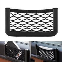 Car Storage Organizer, DSSKY 2-Pack Universal Car String Bag Car Seat Side Storage, 7.9 X 3.2 Net Bag Mesh Pocket Organizer Stick-on for Purse Bag Phone