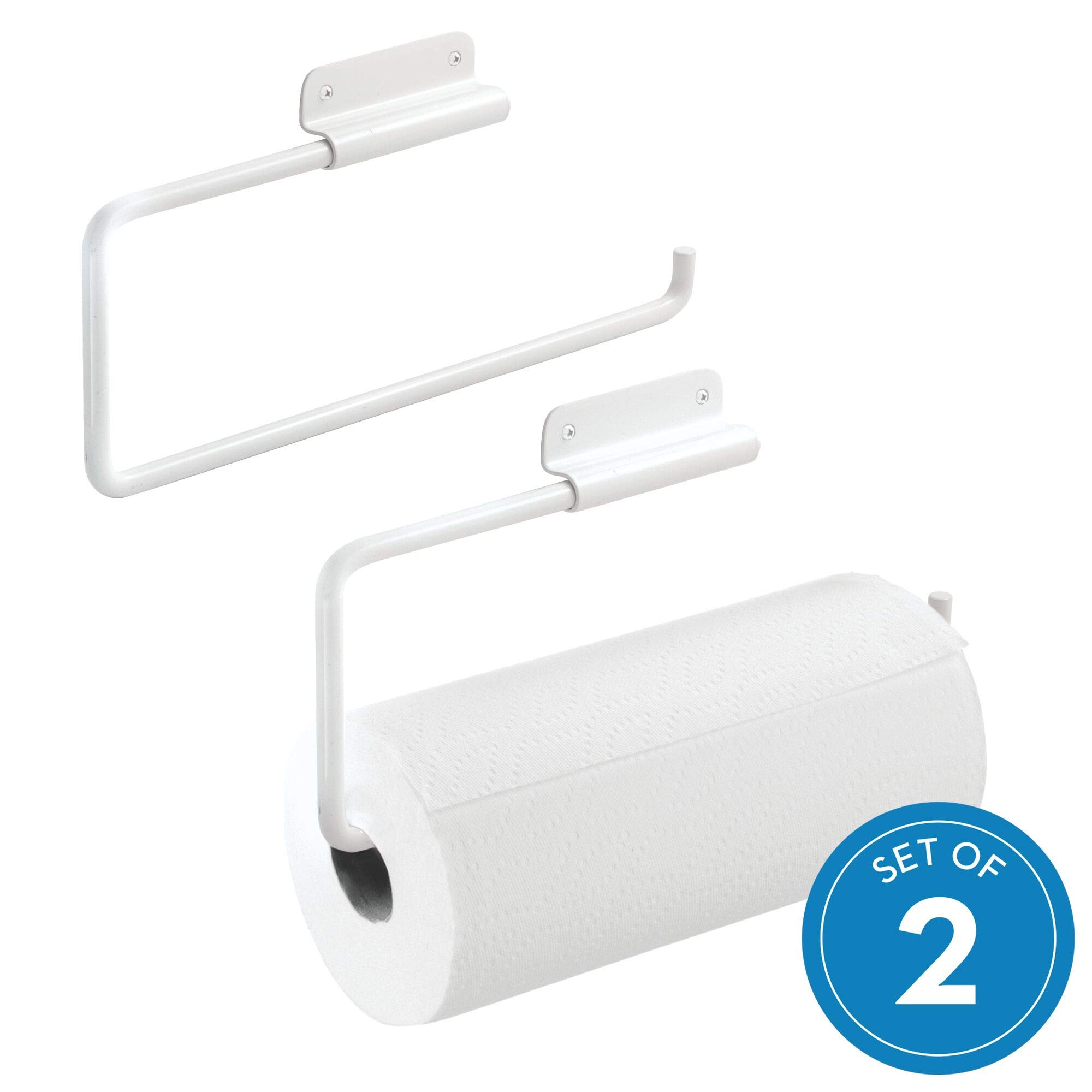 iDesign Swivel Wall Mount Paper Towel Holder, Paper Towel Dispenser for Kitchen or Bathroom - White, Pack of 2