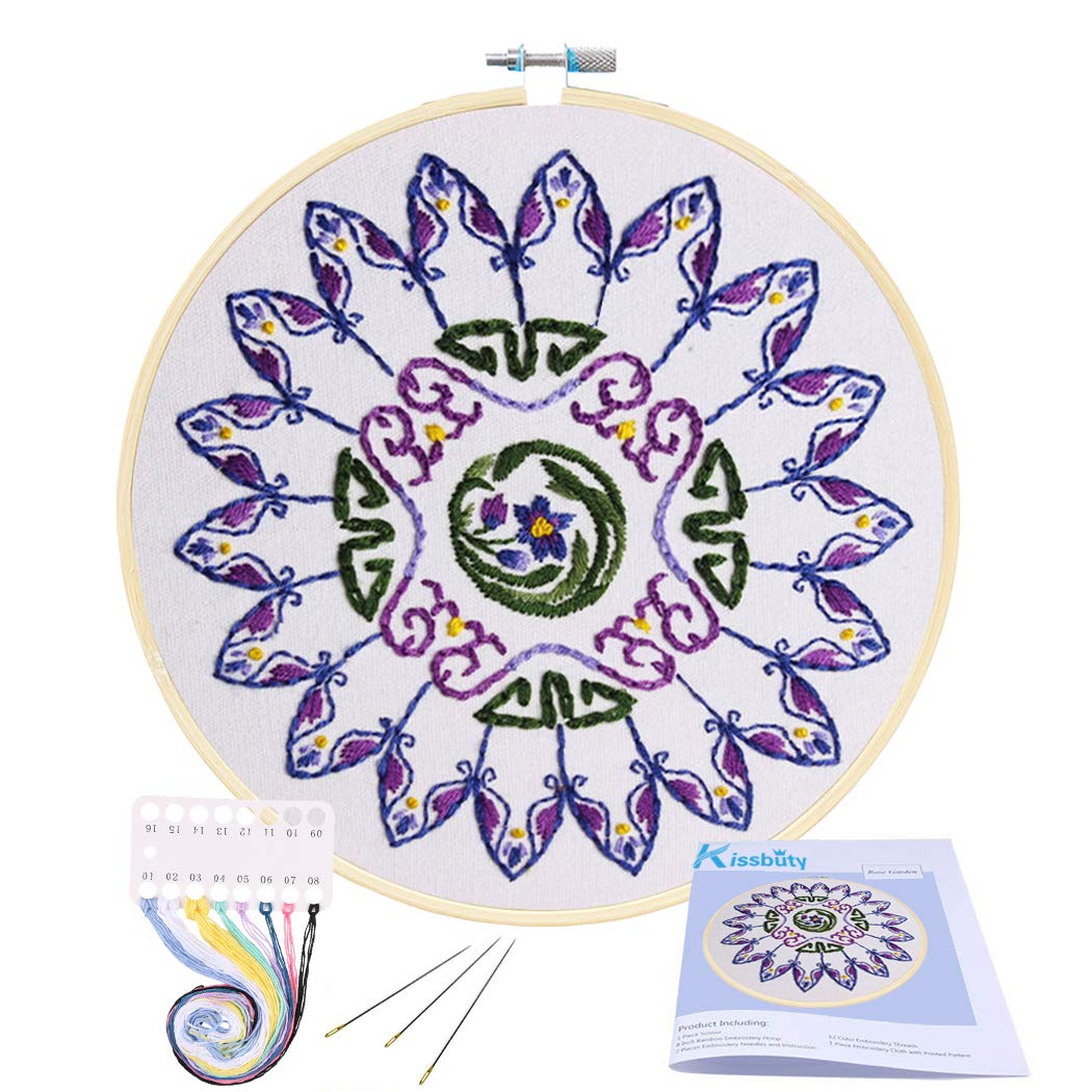 Full Range of Embroidery Starter Kit with Pattern, Kissbuty Cross Stitch Kit Including Embroidery Cloth with Floral Pattern, Bamboo Embroidery Hoop, Color Threads and Tools Kit (Purple Mandala)