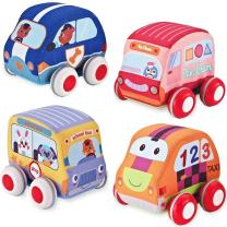 Bebe Soft Car Toys Pull Back Vehicles,Soft Toy Cars Baby and Toddlers Toy Set,4 Cars and Trucks Pull Back,Cars Toys Gifts,Soft Baby Toy Set Car,Push Cars Toy,for Kids,Toddlers,Boys Girls, New Version