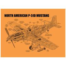 "Inked and Screened SP_Avia_P-51D 24_K North American P-51D Mustang Print, 18"" x 24"", Orange Fizz-Black Ink"