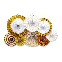 GOLF 8Pcs Gold Paper Fans Flower Hanging Banner for Birthday Wedding Engagement Bridal Shower Baby Shower Bachelorette Holiday Celebration Party Decorations