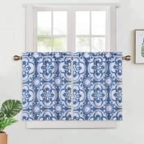 "Haperlare Blue Floral Pattern Tier Curtains for Kitchen Windows, Medallion Printed Café Curtains, Damask Design Rod Pocket Blackout Half Window Curtain for Bathroom, 26"" x 30"", Blue/Grey, Set of 2"