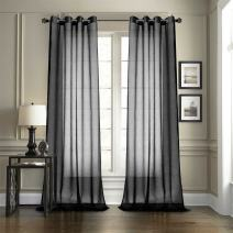 """Dreaming Casa Solid Sheer Curtains Living Room Black Grommet Top Voile Draperies Window Treatment 52"""" W x 84"""" L 2 Panels"""