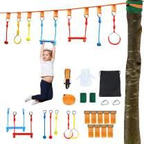 Costzon Ninja Warrior Obstacle Course for Kids, 50' Ninja Slackline Kit w/7 Hanging Obstacles, 9 Adjustable Buckles, 330lbs Capacity, Nylon Ninja Training Equipment for Backyard, Outdoor (Multicolor)