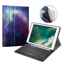 Fintie Keyboard Case for iPad 9.7 2018 with Built-in Pencil Holder, [SlimShell] Soft TPU Back Protective Stand Cover with Magnetically Detachable Wireless Bluetooth Keyboard, Galaxy