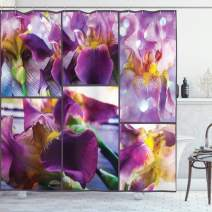 "Ambesonne Rustic Shower Curtain, Blooming Iris Flowers Orchids on Rustic Wood Natural Floral Beauty Romantic Image, Cloth Fabric Bathroom Decor Set with Hooks, 70"" Long, Purple Lavender"