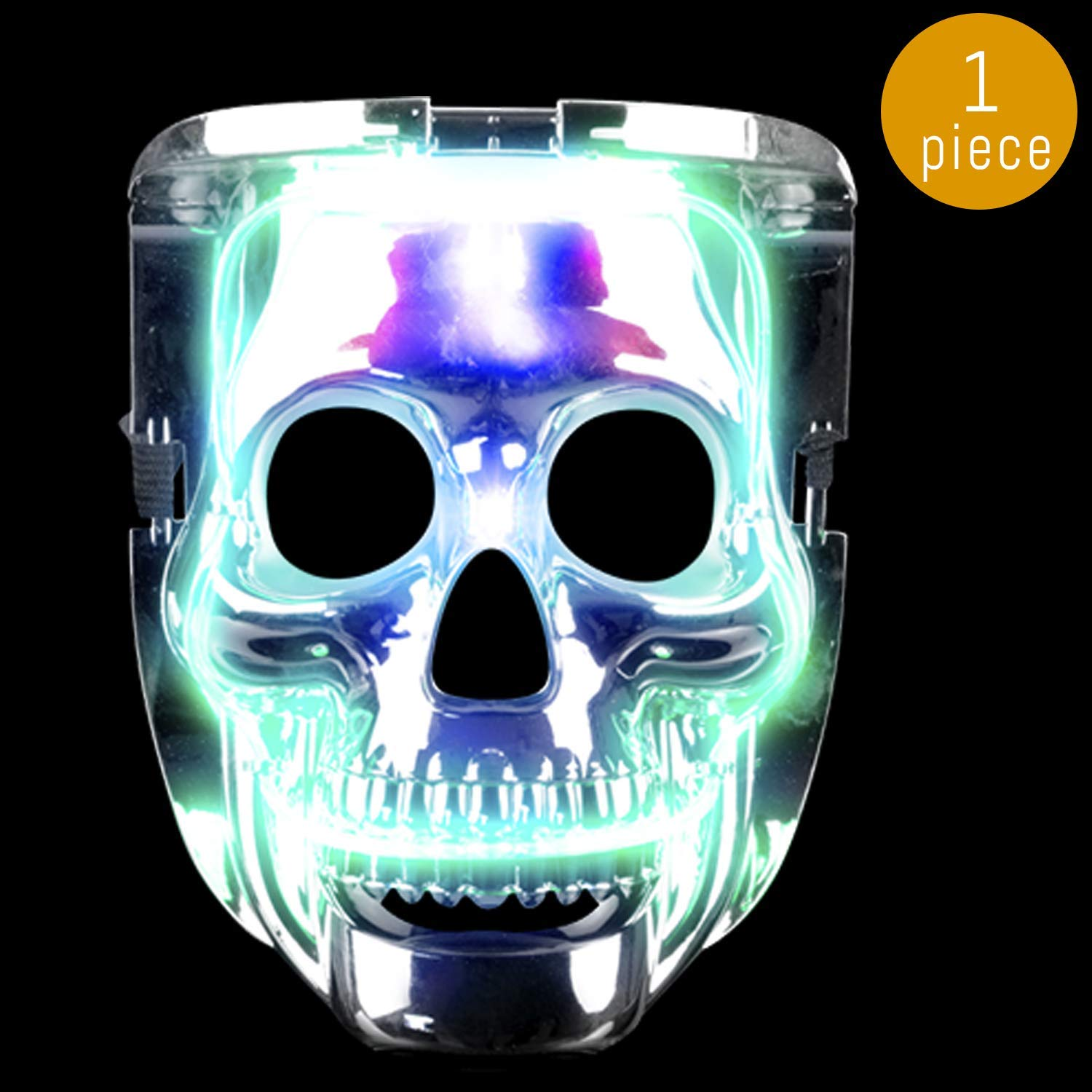 Lumistick LED Light Up Halloween Skull Mask | Multicolor Glowing Purge Twinkling Costume Blinking Dead Skeleton Cosplay Ultra Bright Colorful Party Festival Mask (1 Pack)