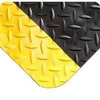 "Wearwell 414.1516x2x5BYL Diamond-Plate SpongeCote Ultrasoft Mat, 5' Length x 2' Width x 15/16"" Thick, Black with Yellow"